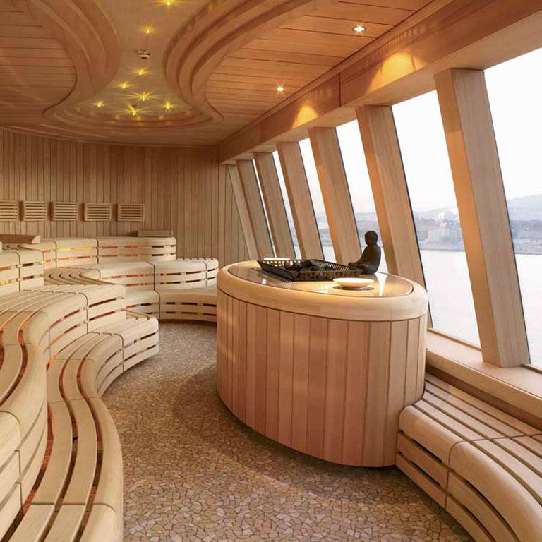 Sauna en bois avec vue